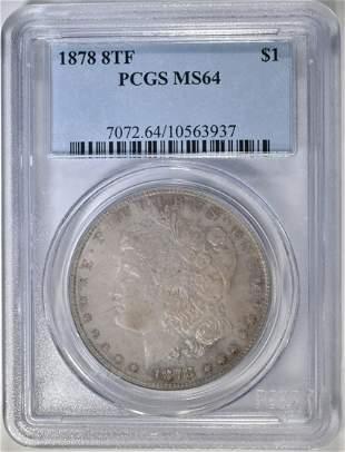 1878 8 TF MORGAN DOLLAR PCGS MS64