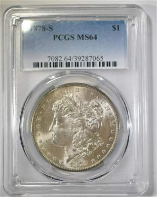 1878S MORGAN DOLLAR PCGS MS64