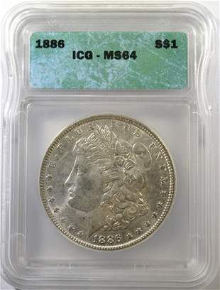1886 MORGAN DOLLAR ICG MS64