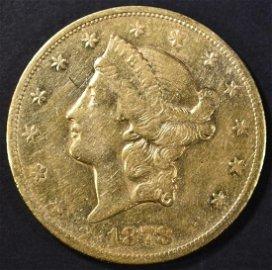 1878-CC $20 GOLD LIBERTY  XF/AU