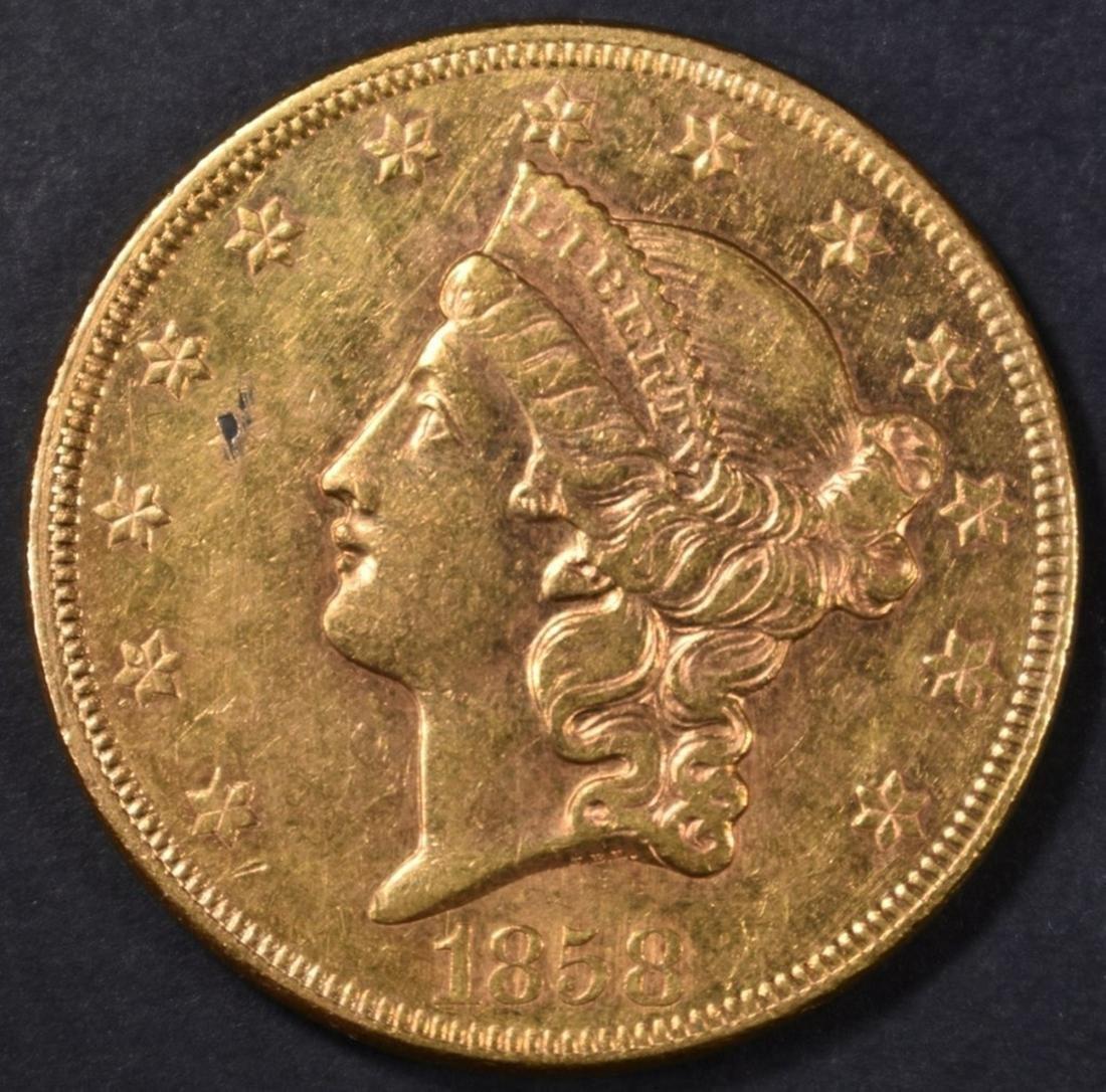 1858 $20 GOLD LIBERTY  BU SEMI PL