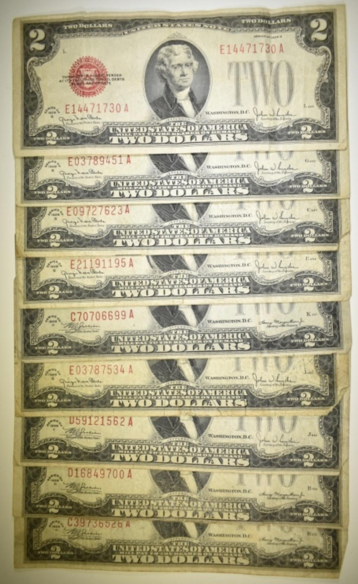 9 1928 $2 RED SEAL NOTES