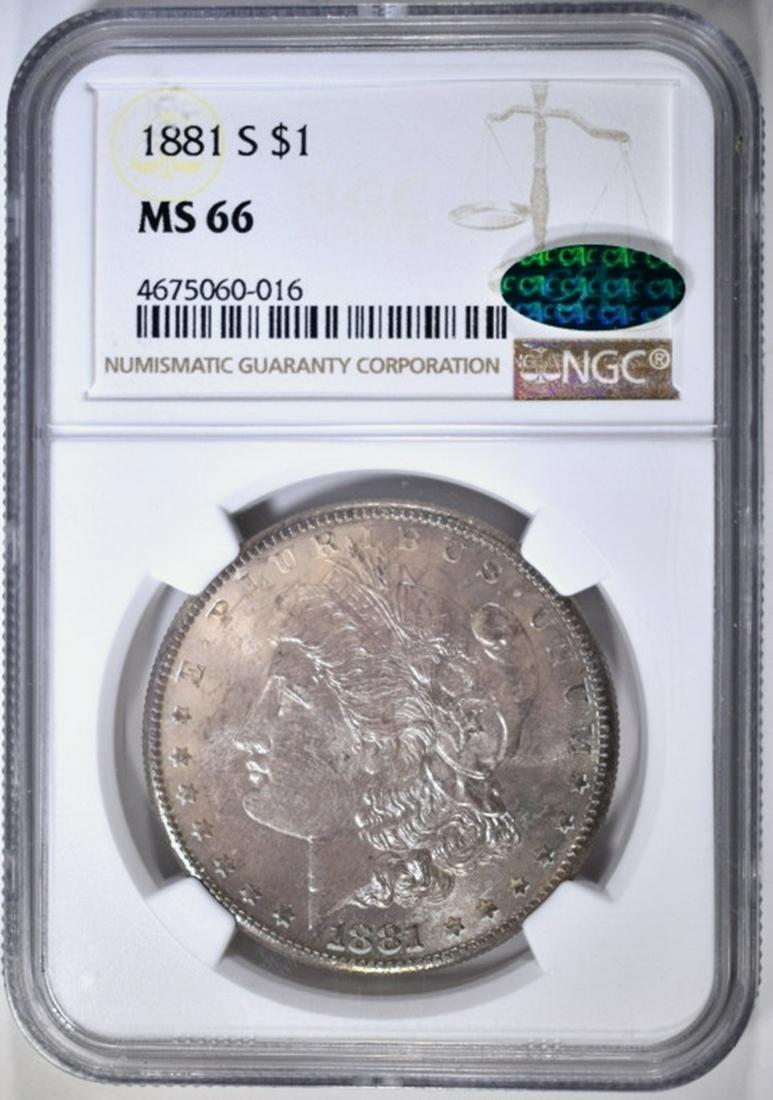1881-S MORGAN DOLLAR NGC MS-66 CAC NICE COLOR
