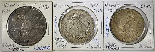 LOT OF 3 MEXICAN SILVER COINS
