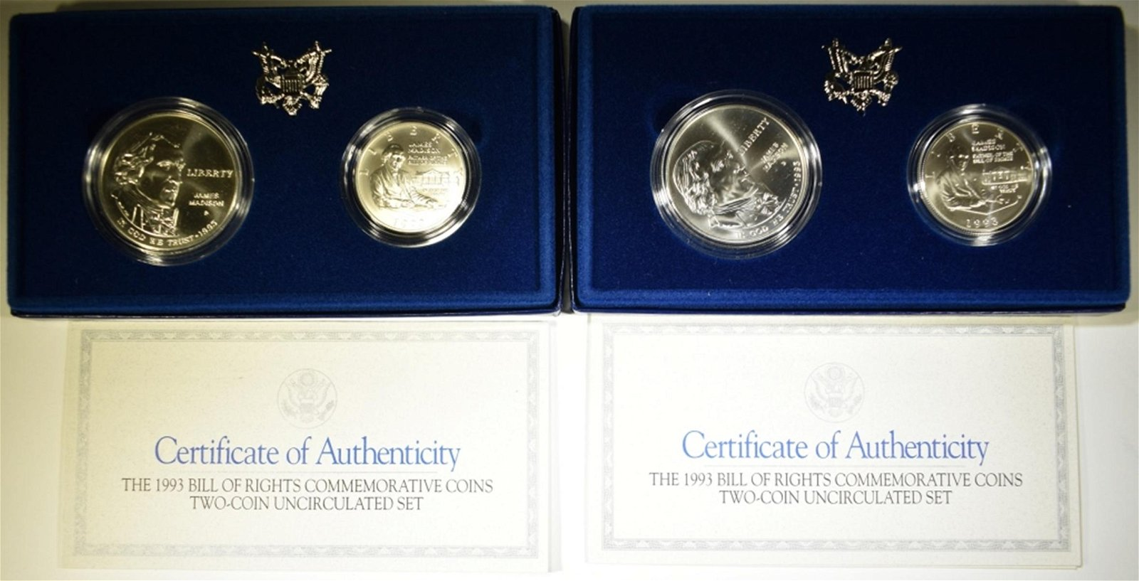 2-1993 UNC BILL OF RIGHTS 2-COIN COMMEM SETS