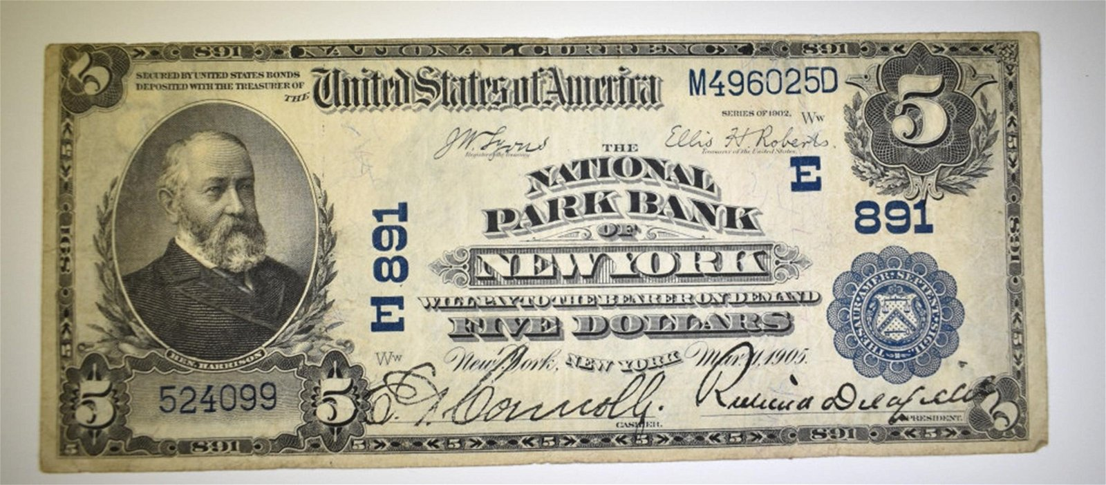 1902 $5.00 NATIONAL CURRENCY NEW YORK NY.VF
