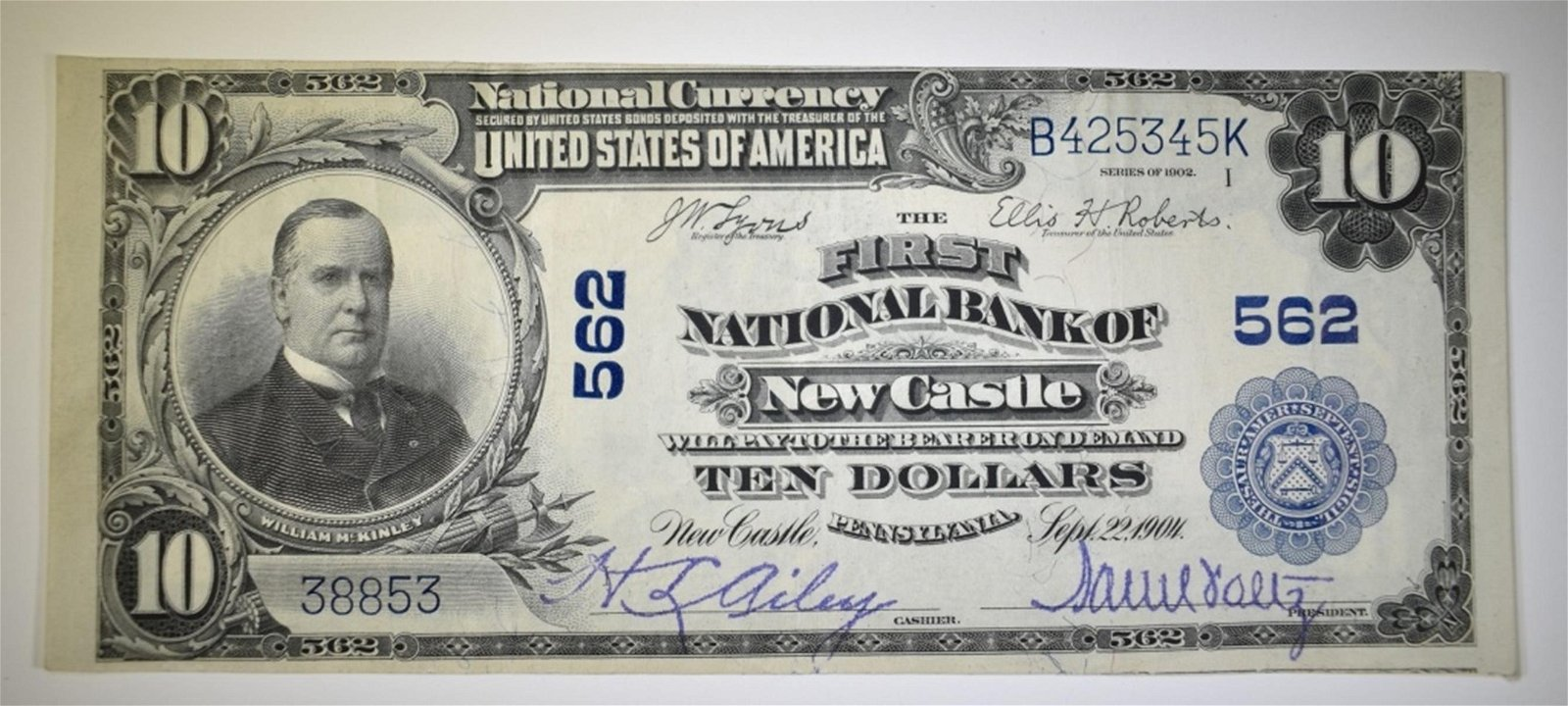 1902 $10 NATIONAL CURRENCY NEWCASTLE PA. XF