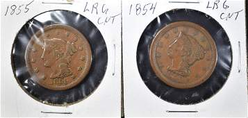 1854 XF  1855 F LARGE CENTS