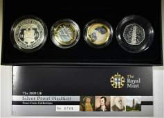 2009 UK SILVER PROOF PIEDFORT 4COIN COLLECTION
