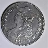 1813 BUST HALF DOLLAR CH AU CLASHED DIE OBV.