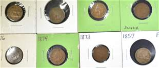 8 MIXED SMALL CENTS FLYING EAGLE, INDIAN