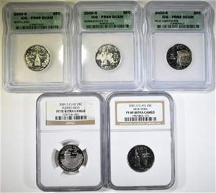 LOT OF 5 GRADED STATE QUARTERS: