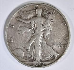 1938-D WALKING LIBERTY HALF DOLLAR, VF
