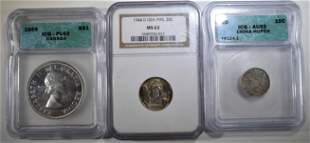 LOT OF 3 GRADED FOREIGN COINS: