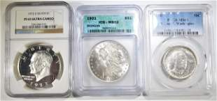 LOT OF 3 TYPE GRADED COINS