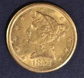 1857-D $5 GOLD LIBERTY  CH BU
