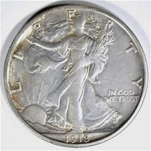 1918-S WALKING LIBERTY HALF DOLLAR AU/BU