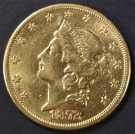 1872-CC $20 GOLD LIBERTY CH AU VERY RARE!!!