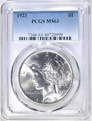 1923 PEACE DOLLAR PCGS MS-63