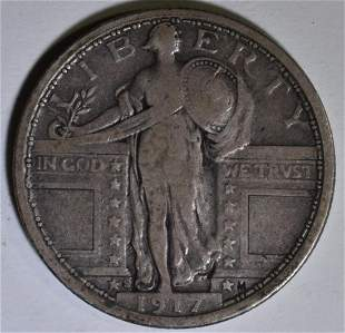 1917-S T-1 STANDING LIBERTY QUARTER  VF