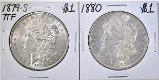 1879-S & 1880 BU MORGAN DOLLARS