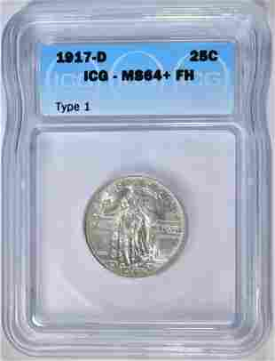 1917-D T-1 STANDING LIBERTY QUARTER  ICG MS-64 FH