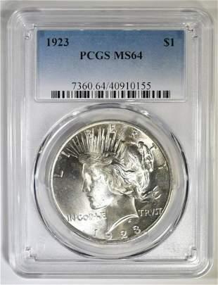 1923 PEACE DOLLAR PCGS MS-64