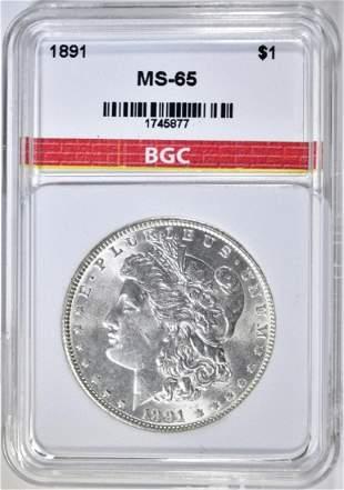 1891 MORGAN DOLLAR BGC GEM BU