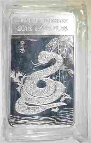 YEAR OF THE SNAKE 10-OUNCE .999 SILVER BAR