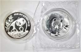 1990 & 2003 1oz CHINESE SILVER PANDA COINS