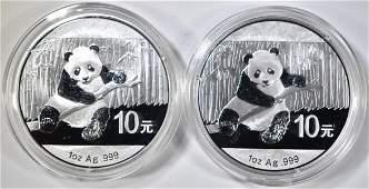 2-2014 1oz CHINESE SILVER PANDA COINS