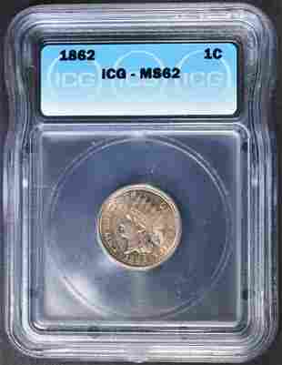 1862 INDIAN CENT ICG MS-62