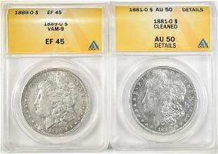 LOT OF 2 ANACS GRADED MORGAN DOLLARS