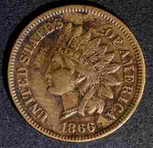 1866 INDIAN CENT VF