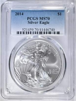 2014 AMERICAN SILVER EAGLE PCGS MS-70