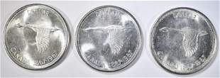 3-1967 CANADIAN SILVER DOLLARS