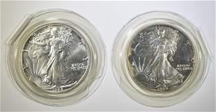 1988 & 89 BU AMERICAN SILVER EAGLES