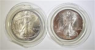 1990 & 94 BU AMERICAN SILVER EAGLES