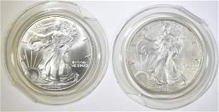 2-2002 BU AMERICAN SILVER EAGLES