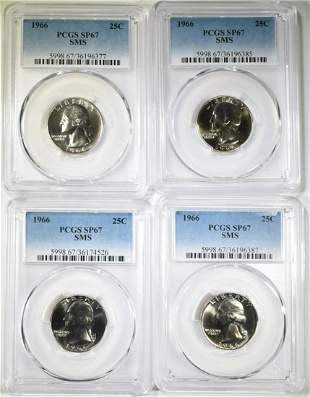 4-1966 SMS WASHINGTON QUARTERS PCGS SP-67