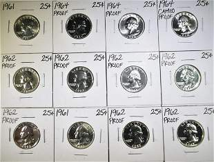 (12) 90% SILVER WASHINGTON QUARTERS  1961-1964.