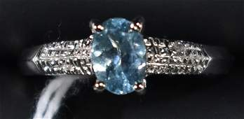 1 CT SKY BLUE TOPAZ & DIAMOND RING SIZE 8