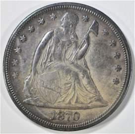 1870-CC SEATED LIBERTY DOLLAR  NICE UNC