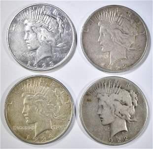 4-UNCIRCULATED PEACE DOLLARS