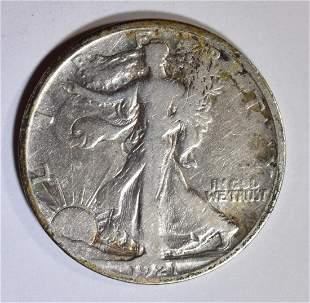 1921-S WALKING LIBERTY HALF DOLLAR FINE