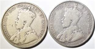 1911 & 12 CANADIAN HALF DOLLARS VG