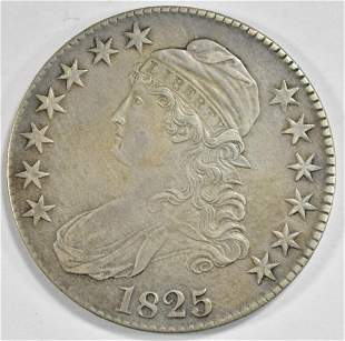 1825 BUST HALF DOLLAR AU/UNC