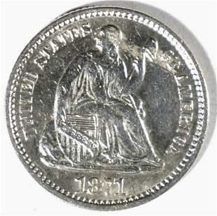 1871 SEATED LIBERTY HALF DIME AU/BU