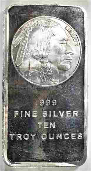 TEN OUNCE .999 SILVER BAR INDIAN/BUFFALO