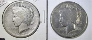 2- 1921 PEACE DOLLARS, 1-GOOD & 1-AG